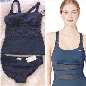 NIKE Mesh Solid Edge V-Back 2PC Swimsuit Tankini